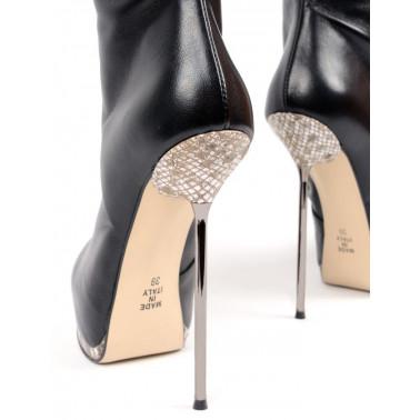 """Włoskie kozaki z wężowym printem fetysz """"metal heel"""" 35-42 EU"""
