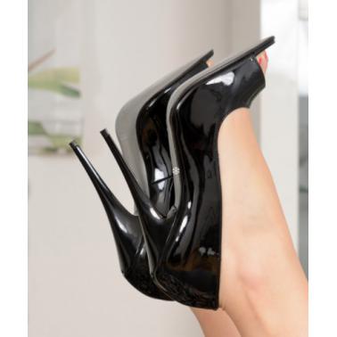 Fetish unsiex open toe black lack pumps 35-46 EU