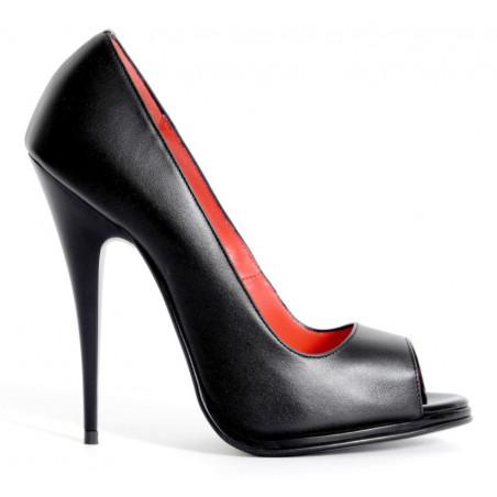 Fetish black open toe Italian pumps 35-46 EU