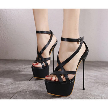 Unisex fetish sandals thin metal heel 35-40 EU