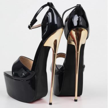 Luxury sky high Trans Crossdress black sandals 36-45 EU