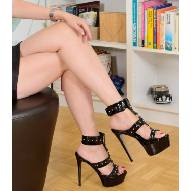 Fetish Italian unisex studded sandals 35-47 EU