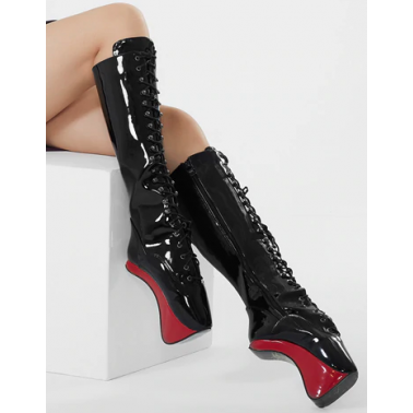 Fetish lack leather pony heel boots 35-45 EU