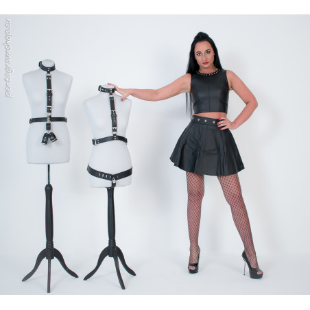 "Leather pleated mini skirt BDSM ""Miranda"""