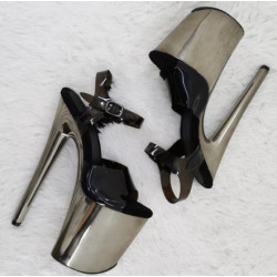 Black and silver sandals pole dance gogo