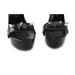 Italian black mules with studded straps