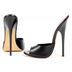 Agressive sky high black unisex mules high heels
