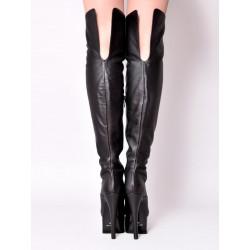 Leather black fetish platform boots