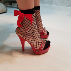 Italian red mules with studded straps 35-46 EU