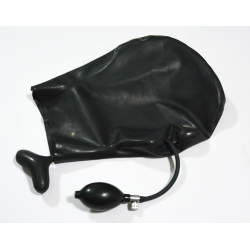 Latex mask hood blind eyes with mouth pump fetish BDSM