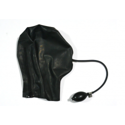 Lateksowa maska bez oczu z pompką w ustach fetysz BDSM