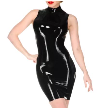 Lateks sukienka bez rekawów unisex fetysz BDSM