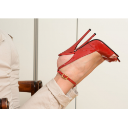 Luxury italian leather red high heeled sandals 35-46 EU