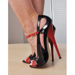 Black red fetish unisex heels sandals 35-46 EU