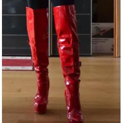 Red hot unisex over knee boots Trans Crossdress 35-46 EU