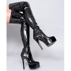 Lack leather black platform unisex boots 35-46 EU