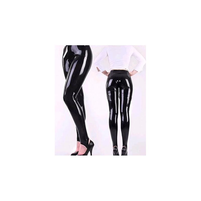 Lateks legginsy spodnie unisex paski pod stopy fetysz BDSM