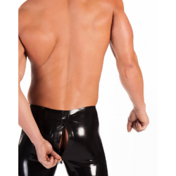 Latex male high waist two way zipper shorts
