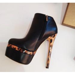 Leopard heel Trans Crossdress ankle boots 35-46 EU