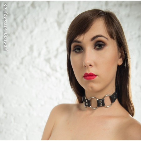 "Obroża skórzana kółka fetysz BDSM ""Chain"""