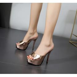 Metallic color fetish female mules high heels 35-40 EU