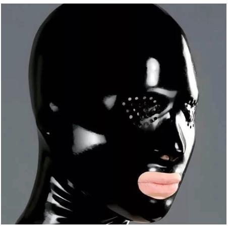 Maska lateksowa perforowane oczy fetysz BDSM
