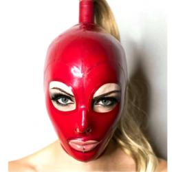 Maska lateksowa ponytail fetysz BDSM