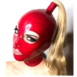 Ponytail unisex latex mask fetish BDSM