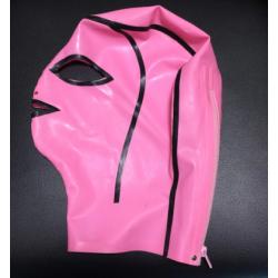 Fetisch Rosa Unisex Latexmaske mit Reißverschluss BDSM