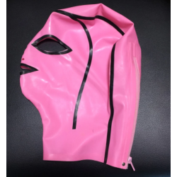 Pink unisex latex face mask hood fetish BDSM