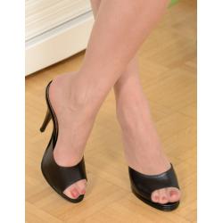 Classic sexy black mules high heels 36-46 EU