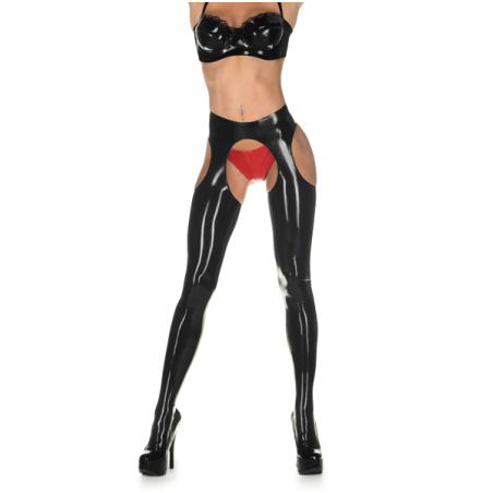 Unisex latex leggings with suspender belt fetish BDSM