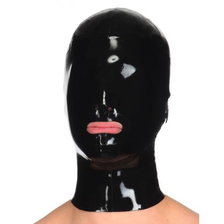 Unisex latex hood mask open mouth fetish BDSM