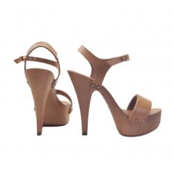 Fetish feet exposure wooden clogs Italian sandals 35-42 EU
