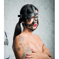 """Leather unisex BDSM head harness mask hood """"Lust"""""""