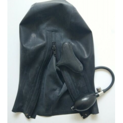 Latex open face mask hood with mouth pump fetish BDSM