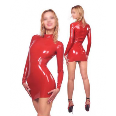 Latex unisex long sleeve dress fetish BDSM