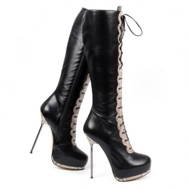 """Włoskie kozaki z wężowym printem fetysz """"metal heel""""..."""