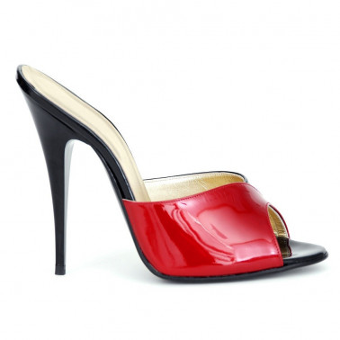 Gorgeous red and black unisex patent mules