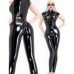 Latex Unisex Armelloses Fetisch Catsuit BDSM