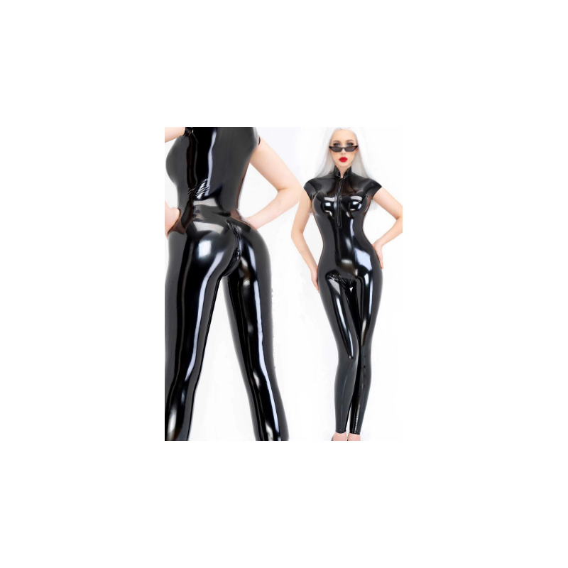 Lateks kostium kombinezon kołnierz stójka unisex fetysz BDSM