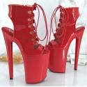"""Czarno czerwone włoskie sandały fetysz """"open toe"""""""