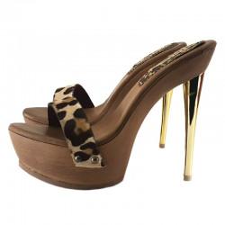 Sexy Metal heel leopard Italian mules 35-41 EU