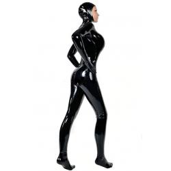Kombinezon lateks catsuit unisex otwarta maska ręce stopy fetysz BDSM