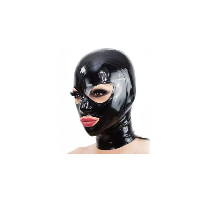 Maska lateks szersze oczy usta fetysz BDSM