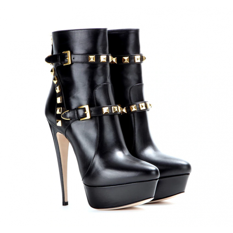 Studded Trans Crossdress fetish ankle boots 35-46 EU