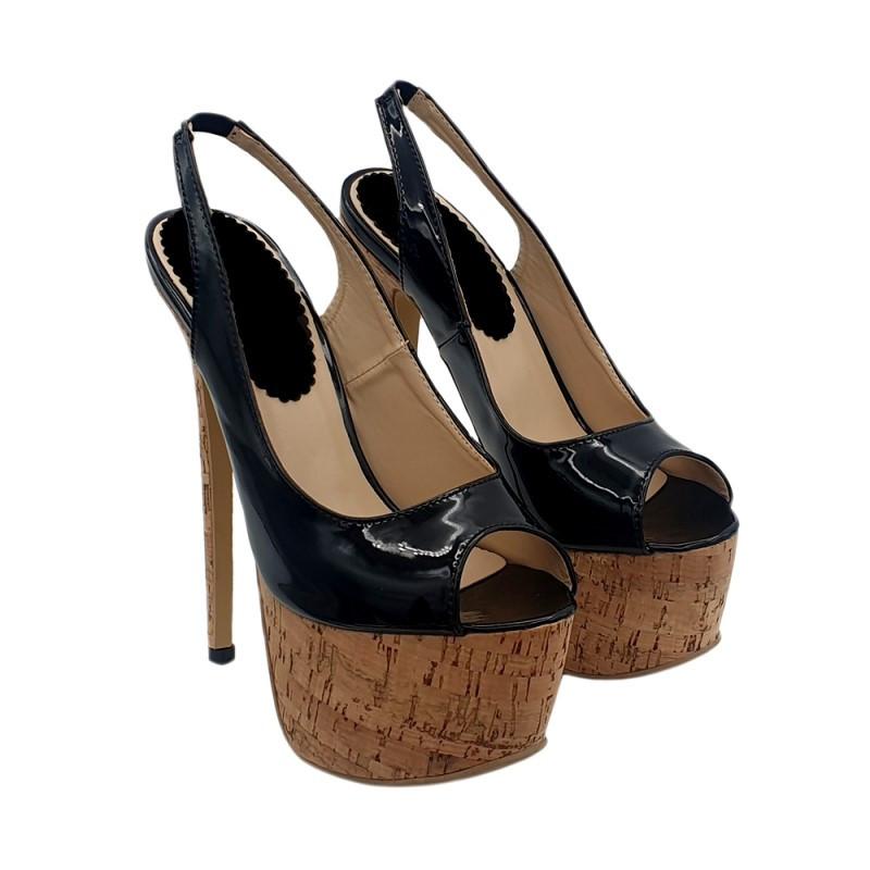 Cork fetish extreme high unisex Italian heels 35-44 EU