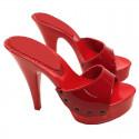Seksowne czerwone klapki Fuss