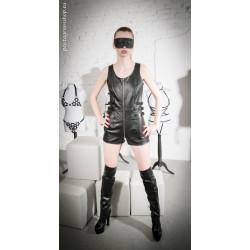 """Leather unisex body suit with shorts """"Amanda"""""""