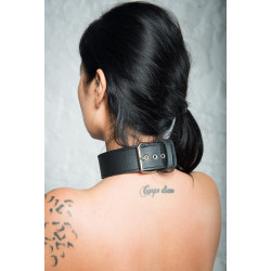 "Leather BDSM simple collar ""My mind"""